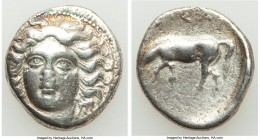THESSALY. Larissa. Ca. 380-365 BC. AR drachm (19mm, 5.59 gm, 1h). Fine, brushed. Head of the nymph Larissa facing slightly left, hair in ampyx; dotted...