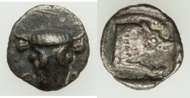 PHOCIS. Federal Coinage. Ca. 485-480 BC. AR obol (10mm, 0.60 gm, 12h). XF. Φ-Ο, facing head of bull / Forepart of boar running right, within incuse sq...