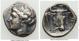 EUBOEA. Euboean League. Ca. 304-290 BC. AR drachm (17mm, 3.57 gm, 11h). VF. Head of the nymph Euboea left / EY, filleted head of bull right; cantharus...