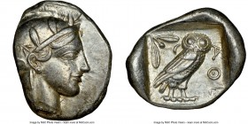 ATTICA. Athens. Ca. 455-440 BC. AR tetradrachm (27mm, 17.18 gm, 4h). NGC Choice XF 3/5 - 5/5. Early transitional issue. Head of Athena right, wearing ...