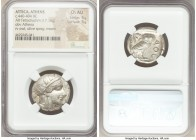 ATTICA. Athens. Ca. 440-404 BC. AR tetradrachm (23mm, 17.16 gm, 6h). NGC Choice AU 5/5 - 5/5. Mid-mass coinage issue. Head of Athena right, wearing cr...