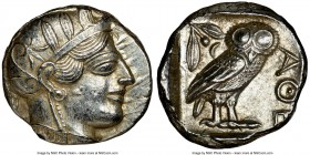 ATTICA. Athens. Ca. 440-404 BC. AR tetradrachm (24mm, 17.19 gm, 1h). NGC Choice AU 4/5 - 4/5. Mid-mass coinage issue. Head of Athena right, wearing cr...