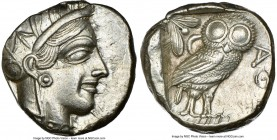 ATTICA. Athens. Ca. 440-404 BC. AR tetradrachm (24mm, 17.20 gm, 1h). NGC AU 4/5 - 4/5. Mid-mass coinage issue. Head of Athena right, wearing crested A...