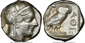 ATTICA. Athens. Ca. 440-404 BC. AR tetradrachm (22mm, 17.18 gm, 7h). NGC AU 3/5 - 4/5. Mid-mass coinage issue. Head of Athena right, wearing crested A...