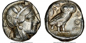 ATTICA. Athens. Ca. 440-404 BC. AR tetradrachm (24mm, 17.18 gm, 1h). NGC Choice XF 5/5 - 4/5. Mid-mass coinage issue. Head of Athena right, wearing cr...