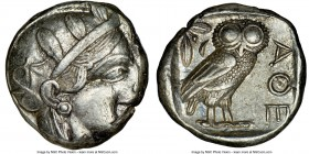 ATTICA. Athens. Ca. 440-404 BC. AR tetradrachm (23mm, 17.20 gm, 9h). NGC Choice XF 3/5 - 4/5. Mid-mass coinage issue. Head of Athena right, wearing cr...