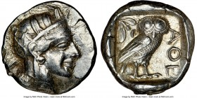 ATTICA. Athens. Ca. 440-404 BC. AR tetradrachm (25mm, 17.23 gm, 9h). NGC XF 4/5 - 4/5. Mid-mass coinage issue. Head of Athena right, wearing crested A...