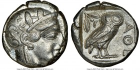 ATTICA. Athens. Ca. 440-404 BC. AR tetradrachm (23mm, 17.19 gm, 1h). NGC XF 3/5 - 4/5. Mid-mass coinage issue. Head of Athena right, wearing crested A...