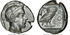 ATTICA. Athens. Ca. 440-404 BC. AR tetradrachm (25mm, 17.18 gm, 8h). NGC Choice VF 5/5 - 4/5. Mid-mass coinage issue. Head of Athena right, wearing cr...
