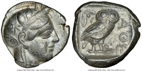 ATTICA. Athens. Ca. 440-404 BC. AR tetradrachm (25mm, 17.16 gm, 7h). NGC Choice VF 4/5 - 3/5. Mid-mass coinage issue. Head of Athena right, wearing cr...