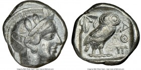 ATTICA. Athens. Ca. 440-404 BC. AR tetradrachm (24mm, 17.13 gm, 10h). NGC VF 4/5 - 3/5. Mid-mass coinage issue. Head of Athena right, wearing crested ...