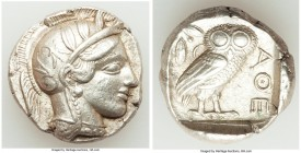 ATTICA. Athens. Ca. 440-404 BC. AR tetradrachm (24mm, 17.16 gm, 8h). AU. Mid-mass coinage issue. Head of Athena right, wearing crested Attic helmet or...