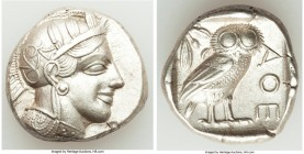 ATTICA. Athens. Ca. 440-404 BC. AR tetradrachm (27mm, 17.16 gm, 4h). AU. Mid-mass coinage issue. Head of Athena right, wearing crested Attic helmet or...