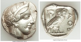 ATTICA. Athens. Ca. 440-404 BC. AR tetradrachm (25mm, 17.19 gm, 9h). AU, marks. Mid-mass coinage issue. Head of Athena right, wearing crested Attic he...