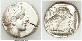ATTICA. Athens. Ca. 440-404 BC. AR tetradrachm (24mm, 17.16 gm, 4h). AU. Mid-mass coinage issue. Head of Athena right, wearing crested Attic helmet or...
