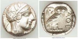 ATTICA. Athens. Ca. 440-404 BC. AR tetradrachm (23mm, 17.20 gm, 2h). AU. Mid-mass coinage issue. Head of Athena right, wearing crested Attic helmet or...