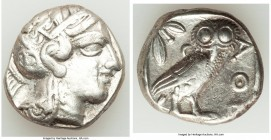 ATTICA. Athens. Ca. 440-404 BC. AR tetradrachm (23mm, 17.09 gm, 8h). VF, graffiti. Mid-mass coinage issue. Head of Athena right, wearing crested Attic...