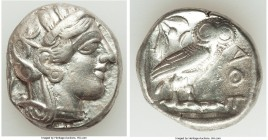 ATTICA. Athens. Ca. 440-404 BC. AR tetradrachm (24mm, 17.04 gm, 8h). VF, graffiti. Mid-mass coinage issue. Head of Athena right, wearing crested Attic...