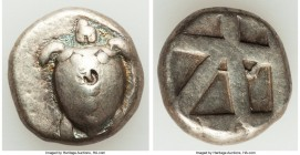 SARONIC ISLANDS. Aegina. Ca. 470/465-445/440 BC. AR stater (20mm, 12.26 gm). VF, countermark. Sea turtle, viewed from above, head turned sideways, wit...