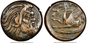 CIMMERIAN BOSPORUS. Panticapaeum. Ca. 4th century BC. AE (20mm, 11h). NGC Choice VF. Bearded head of Pan right / Π-Α-Ν, forepart of griffin left, stur...