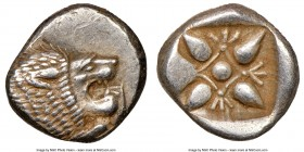 IONIA. Miletus. Ca. late 6th-5th centuries BC. AR 1/12 stater or obol (10mm). NGC Choice AU. Milesian standard. Forepart of roaring lion left, head re...