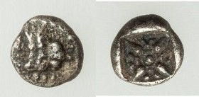 IONIA. Miletus. Ca. 600-550 BC. AR 1/64 stater or tetartemorion (5mm, 0.20 gm). VF. Lion or panther head facing; all within dotted square border / Ste...