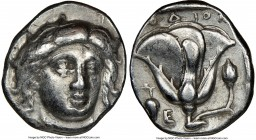 CARIAN ISLANDS. Rhodes. Ca. 340-305 BC. AR didrachm (19mm, 11h). NGC VF. Ca. 340-320 BC. Head of Helios facing, turned slightly right, hair parted in ...