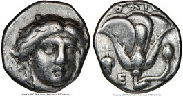 CARIAN ISLANDS. Rhodes. Ca. 340-305 BC. AR didrachm (19mm, 12h). NGC Choice Fine. Ca. 340-320 BC. Head of Helios facing, turned slightly right, hair p...
