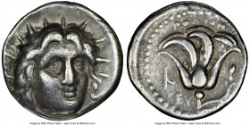 CARIAN ISLANDS. Rhodes. Ca. 250-205 BC. AR didrachm (20mm, 12h). NGC VF. Ca. 250 BC. Radiate head of Helios facing, turned slightly right, hair parted...
