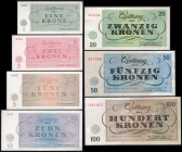 Czechoslovakia Terezin Ghetto Set of 7 Banknotes 1943 