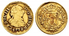 Charles III (1759-1788). 1/2 escudo. 1778/7. Sevilla. CF. (Cal 2008-801 variante). (Cal 2019-1308). Au. 1,73 g. This piece was used as a jewell. Almos...