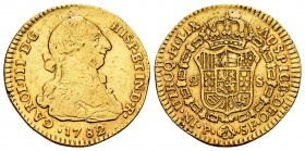 Charles III (1759-1788). 2 escudos. 1782. Popayán. SF. (Cal 2008-512). (Cal 2019-1643). Au. 6,69 g. This piece was used as a jewell. Choice F. Est...2...