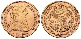 Charles III (1759-1788). 2 escudos. 1780. Santa Fe de Nuevo Reino. JJ. (Cal 2008-558). (Cal 2019-1700). Au. 6,66 g. This piece was used as a jewell. S...