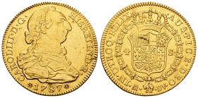 Charles III (1759-1788). 4 escudos. 1787. Madrid. DV. (Cal 2008-313). (Cal 2019-1793). Au. 13,52 g. This piece was used as a jewell. VF/Choice VF. Est...