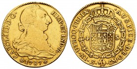 Charles III (1759-1788). 4 escudos. 1787. Sevilla. CM. (Cal 2008-411). (Cal 2019-1902). Au. 13,37 g. Traces of soldering. Choice F. Est...500,00.