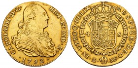 Charles IV (1788-1808). 4 escudos. 1792. Madrid. MF. (Cal 2008-202). (Cal 2019-1475). Au. 13,34 g. Traces of soldering. Choice F/VF. Est...500,00.