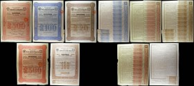 Russia Railway bonds (5) The Russian South-Eastern Railway Company 1914, 4 1/2% bonds (3) £500 red, £100 blue and £20 brown with some coupons, GF to N...
