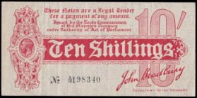 Ten Shillings Bradbury T9 First issue Dash in No. ornate font and 6 digit serial issued 1914 serial number A/20 198340, VF-GVF very minor ink on rever...