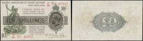 Ten Shillings Fisher T26 First issue Red dash in No. photgravure printing and Ireland in title issued 1919 serial number F99 451915, pressed GEF looks...