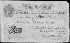 Five Pounds Harvey White note B209a dated 31st October 1922 serial number C/29 86193 LONDON branch issue EF very minor rust and Exceptionally Scarce n...