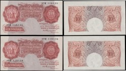 Ten Shillings Peppiatt B236 Pre-war First Period Red-Brown Unthreaded issues 1934 (2) a consecutively numbered pair serial numbers 37R 118134 & 37R 11...