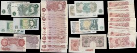 Bank of England 10 Shillings and 1 Pounds 1940's onwards including different cashiers and examples of the Britannia medallion and QE2 portrait/pictori...