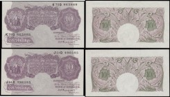 Ten Shillings Peppiatt B251 World War II Mauve Emergency issues 1940 (2) serial numbers J51D 486585 and K72D 863888. Both about UNC and always collect...
