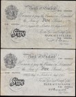 Bank of England 5 Pound White notes (2) comprising a Peppiatt Second Period B255 Thick Paper Metal thread bearing the historical date 6th August 1945 ...
