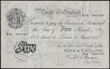 Five Pounds Beale White note B270 Thin paper Metal thread dated 31st March 1952 serial number X42 005187 London branch and an original GVF. Printed at...
