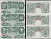 One Pounds O'Brien B273 Green Britannia medallion issues 1955 (3) a consecutively numbered trio serial numbers R09J 345635 - R09J 345637. All about UN...
