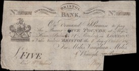 Bristol Bank 5 Pounds cut-cancelled across signature dated 8th October 1807 number D420 for Miles, Vaughan, Miles, Baugh and Birch where Birch has bee...