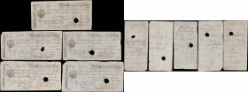 Margate Isle of Thanet 14, 21 days and 1 month sight notes of different values dated 1799 punch-hole cancelled (5) all uniface in VF or about with var...