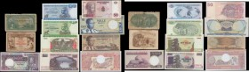 Africa Equatorial & Southern (11) including some early colonial issues and all different issuers and denominations of these exotic notes in various gr...