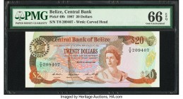 Belize Central Bank 20 Dollars 1.1.1987 Pick 49b PMG Gem Uncirculated 66 EPQ.   HID09801242017  © 2020 Heritage Auctions | All Rights Reserved
